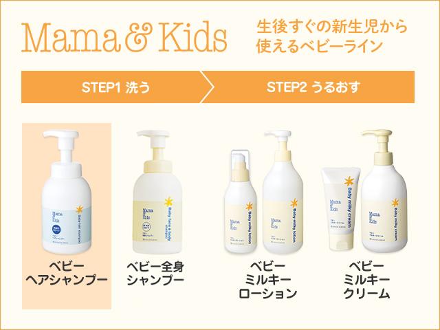 ママ&キッズ 生後すぐの新生児から使えるベビーライン STEP1 洗う ベビーヘアシャンプー